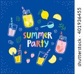 summer party lemonade colorful... | Shutterstock .eps vector #401936455