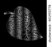 doodle textured leaf background | Shutterstock .eps vector #401955778