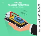 car towing truck online app.... | Shutterstock .eps vector #401963422