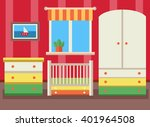 baby room with furniture. flat... | Shutterstock .eps vector #401964508