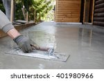 mason leveling and screeding... | Shutterstock . vector #401980966