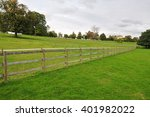 View Of A Fence Running Through ...
