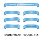 set of light blue azure ribbon... | Shutterstock .eps vector #402003415