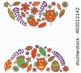 doodle set with flowers  birds... | Shutterstock .eps vector #402012142
