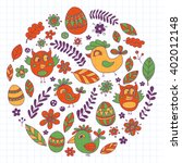 doodle set with flowers  birds... | Shutterstock .eps vector #402012148