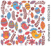 doodle set with flowers  birds... | Shutterstock .eps vector #402012616