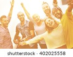 diverse people friends fun... | Shutterstock . vector #402025558