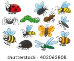 cartoon bee and bug  butterfly... | Shutterstock .eps vector #402063808