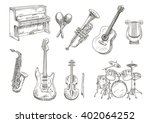 drum set and piano  saxophone ... | Shutterstock .eps vector #402064252