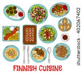 finnish cuisine dishes with... | Shutterstock .eps vector #402067402