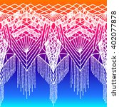 isolated crocheted lace border... | Shutterstock .eps vector #402077878