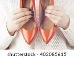 fashion studio shot of shopping ... | Shutterstock . vector #402085615