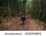 young man student hiking in... | Shutterstock . vector #402090892