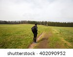 young man student hiking in... | Shutterstock . vector #402090952