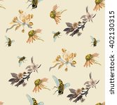 pattern with bees. a watercolor ... | Shutterstock . vector #402130315