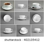 set with cups of coffee on gray ... | Shutterstock . vector #402135412