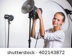 pretty  female photographer...   Shutterstock . vector #402143872