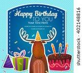 elk congratulates. card. vector ...   Shutterstock .eps vector #402148816