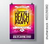 vector summer beach party flyer ... | Shutterstock .eps vector #402150382