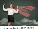 nerdy teacher showing strength... | Shutterstock . vector #402153022