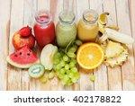 row fresh juices smoothie three ... | Shutterstock . vector #402178822