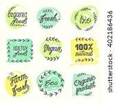 labels with vegetarian diet... | Shutterstock .eps vector #402186436