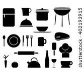 kitchen and food black vector... | Shutterstock .eps vector #402193915