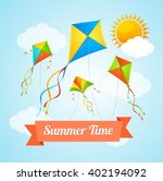 Summer Card Witha Flying Kites...
