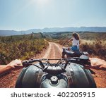 young people on quad bikes on a ... | Shutterstock . vector #402205915