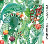 Chameleon And Cactus Seamless...