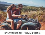man and woman having fun on an... | Shutterstock . vector #402214858