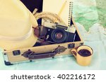 Traveling Concept. Camera  Cup...