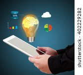 businessman holding a laptop... | Shutterstock . vector #402229282