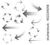 set of dotted arrows. halftone... | Shutterstock .eps vector #402234058