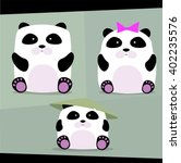 cartoon panda's family | Shutterstock .eps vector #402235576