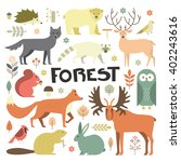 collection of forest animals... | Shutterstock .eps vector #402243616