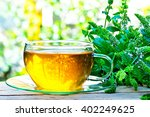 glass of peppermint tea with... | Shutterstock . vector #402249625