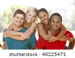 group of young friends having... | Shutterstock . vector #40225471