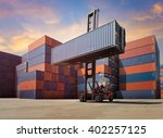 cargo containers in shipping... | Shutterstock . vector #402257125