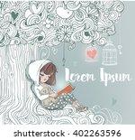 little girl reading under the...   Shutterstock .eps vector #402263596