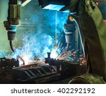 robot welding movement... | Shutterstock . vector #402292192