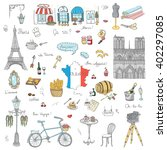 set of hand drawn french icons  ... | Shutterstock .eps vector #402297085