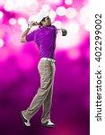 golf player in a pink shirt...   Shutterstock . vector #402299002