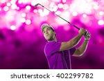 golf player in a pink shirt...   Shutterstock . vector #402299782