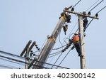 selective focus of electricians ... | Shutterstock . vector #402300142