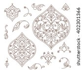 vector set of line art decor ... | Shutterstock .eps vector #402301366