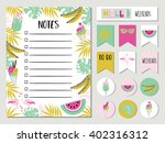 organizer and schedule set with ... | Shutterstock .eps vector #402316312