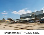 collapsed  abandoned industrial ... | Shutterstock . vector #402335302