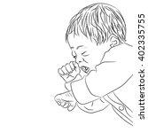sleeping baby. coloring book... | Shutterstock .eps vector #402335755