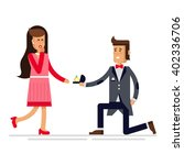 man makes marriage proposal to... | Shutterstock .eps vector #402336706